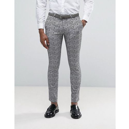 super skinny suit trousers with floral flocking - grey marki Noose & monkey