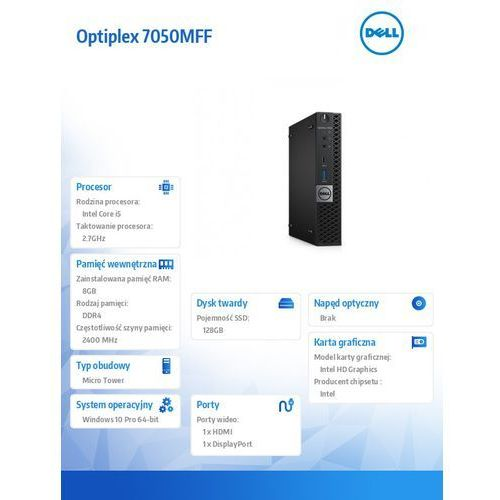Dell Optiplex 7050mff win10pro i5-7500t/128gb ssd/8gb/hd630/ms116/kb216/3y nbd (5902002031820)