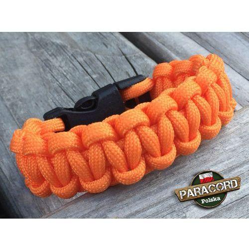 """Bransoleta z Paracordu typ """"Cobra - Orange yellow"""" z wplecioną plastikową klamrą"""