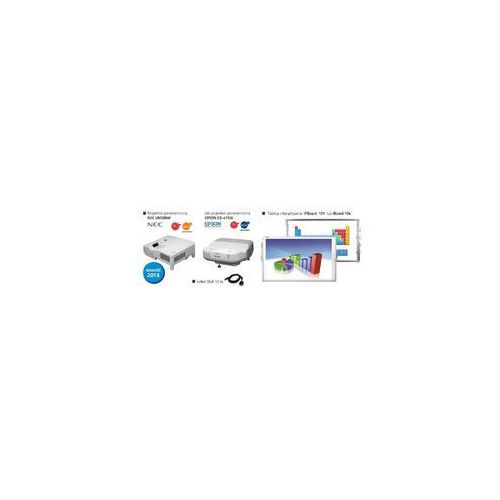 Idealny zestaw panoramiczny ipboard 101 dual + projektor nec um280w lub projektor epson eb-475w + okablowanie + uchwyt ścienny marki Iboard