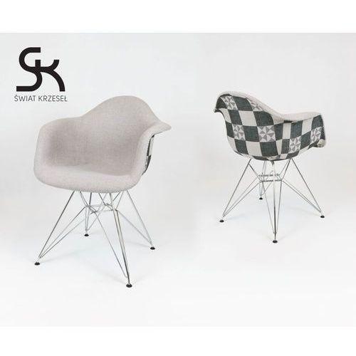 Świat krzeseł Kr012f tapicerowany fotel patchwork 5 mondi daw chrom