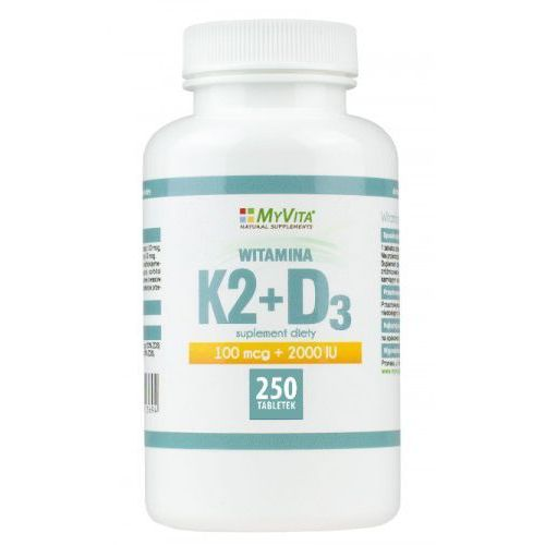 Witamina K2 MK-7 K2MK7 100mcg + D3 z lanoliny 2000IU 250 tabletek MyVita (5905279123571)