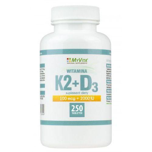 Witamina K2 MK-7 K2MK7 100mcg + D3 z lanoliny 2000IU 250 tabletek MyVita