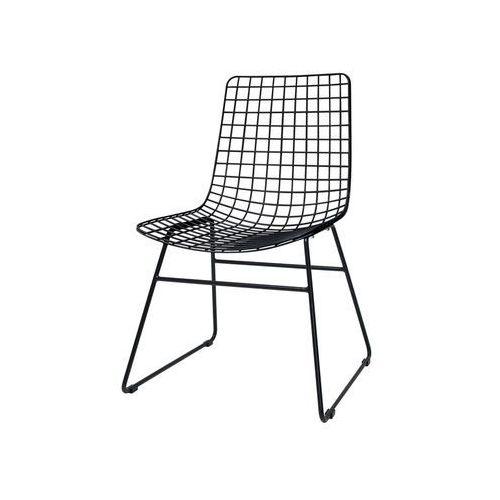 Hk living krzesło metalowe wire czarne fur0023