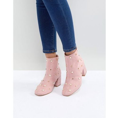 Glamorous Pearl Embellished Heeled Ankle Boots - Pink, ankle