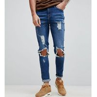Brooklyn Supply Co Muscle Fit Jeans With Rip and Repair - Blue, jeans