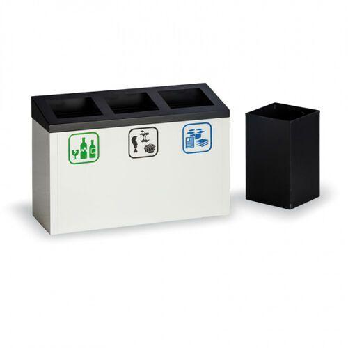 B2b partner Kosz do segregacji śmieci, 27 l, metalowy