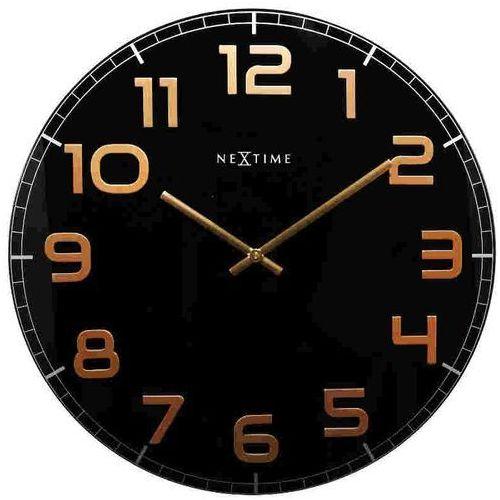 Nextime zegar ścienny czarno - miedziany - 'classy large'