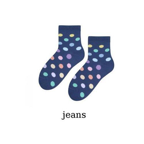 Skarpety grochy dziewczęce art.014 26-28, jeans. steven, 26-28, 29-31, 32-34 marki Steven
