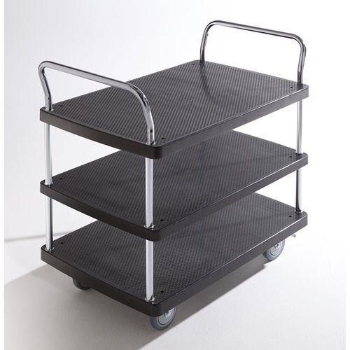 Wózek serwisowy, 3 piętra, 2 pałąk, nośność 230 kg. Solidne powierzchnie ładunko