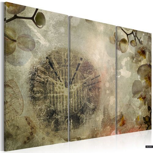 SELSEY Obraz - Orquidiana (wytarty zegar - tryptyk) 120x80 cm
