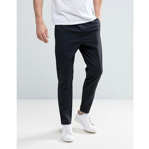 Selected Homme Cropped Tapered Trouser with Elasticated Waist in Check - Navy