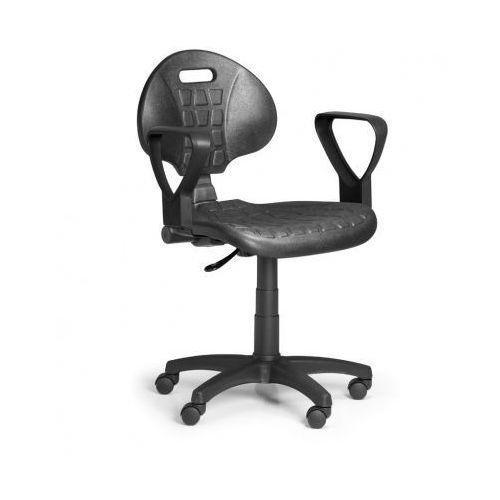 Krzesło PUR z podłokietnikami, stały kontakt, do miękkich podłóg
