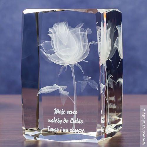 RÓŻA 3D w kryształowej statuetce z Twoją własną dedykacją ♥ GRAWER 3D