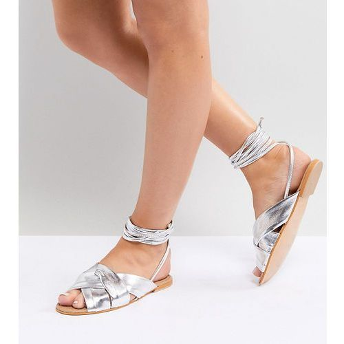 design valley wide fit leather knotted tie leg flat sandals - silver marki Asos