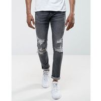 River Island Skinny Jeans With Rips In Black Wash - Black, jeans