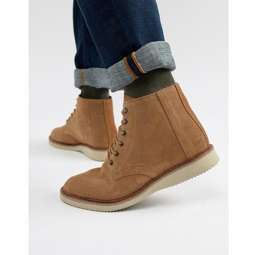 Toms porter water resistant lace up boots in brown - brown