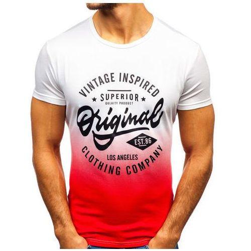 J.style T-shirt męski z nadrukiem biało-czerwony denley ky38