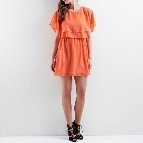 Krótka, gładka sukienka z krótkimi rękawami marki Vila