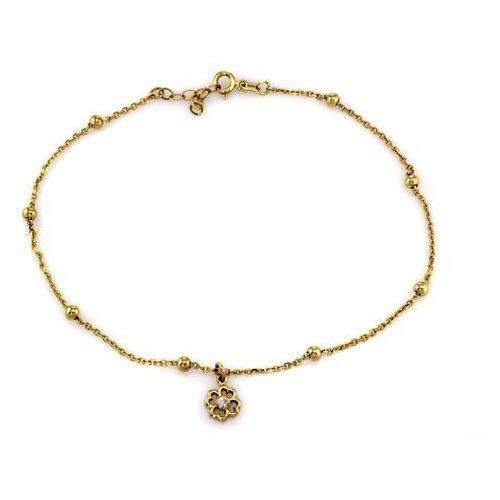 Bransoletka złota na nogę z kwiatkiem - 2,66g