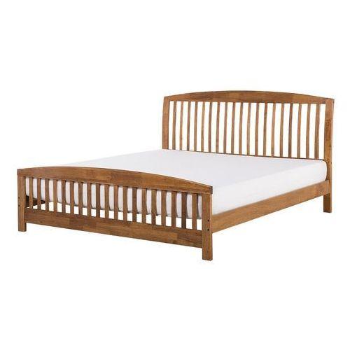 Beliani łóżko Brązowe 160x200 Cm Drewniane Ze Stelażem