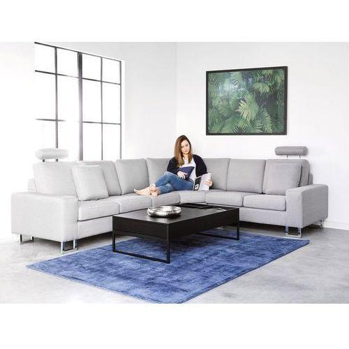 Sofa narożna lewostronna tapicerowana jasnoszara stockholm marki Beliani