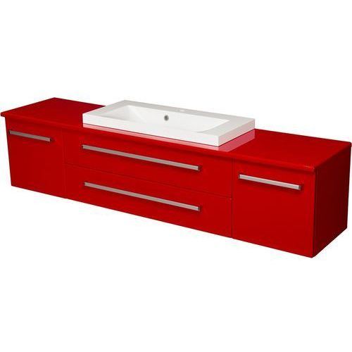 Czerwona szafka wisząca z umywalką 180/39/C2 seria Fokus CZ, kolor czerwony