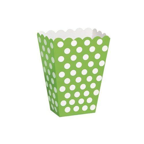 Pudełka na popcorn zielone w białe kropki - 8 szt. (0011179592913)