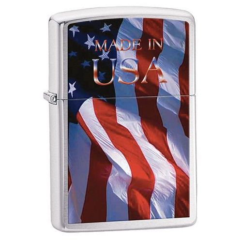 Zapalniczka ZIPPO Made in USA Flag, Brushed Chrome (z24797)
