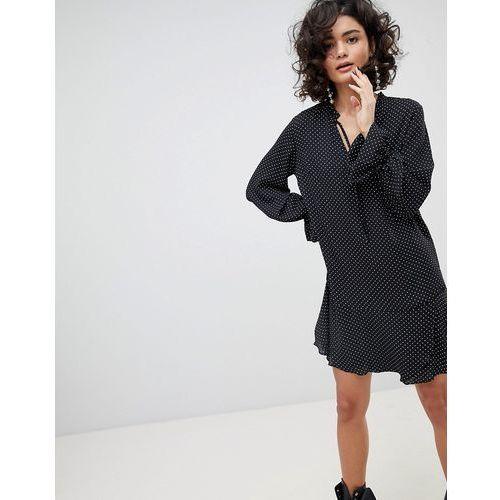 Mango Polka Dot Pep Hem Dress - Black, kolor czarny