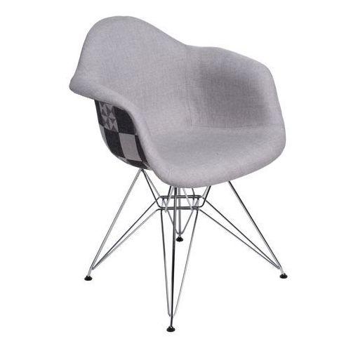 Producent: elior Krzesło p018 dar pattern chromowane nogi (szare-patchwork) d2