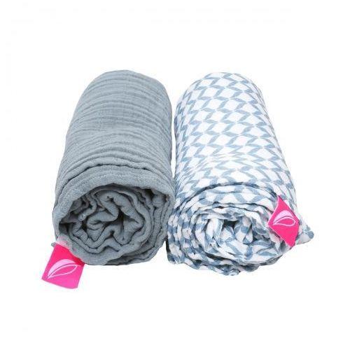 Otulacze muślinowe bawełniane 85x110cm 2 szt. pre-washed niebieski classic, marki Motherhood