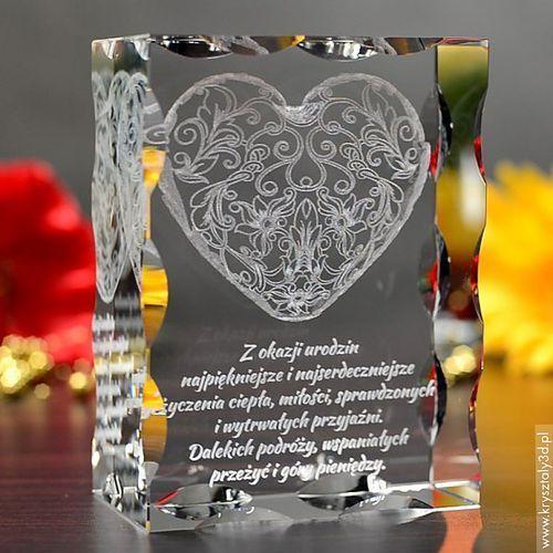 OKAZJA - Koronkowe Serce 3D z Twoją dedykacją ♥ duża, żłobiona statuetka 3D • GRAWER 3D