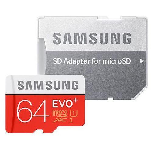 Karta pamięci microSDXC Samsung EVO+ 64GB UHS-I U1 class 10 + adapter do SD, MB-MC64DA/EU