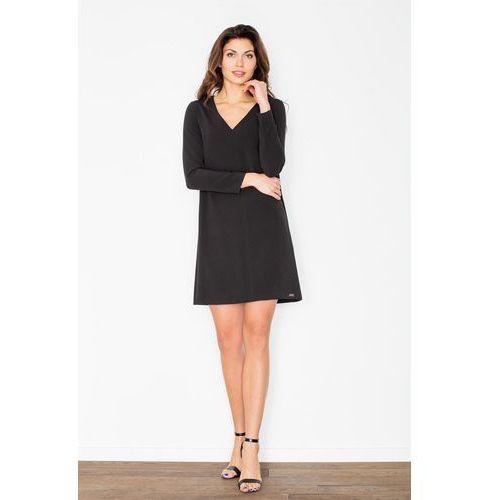 """Czarna prosta sukienka z dekoltem """"v"""" z długim rękawem marki Figl"""