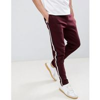 River Island Joggers With Side Tape Detail In Burgundy - Red, kolor czerwony