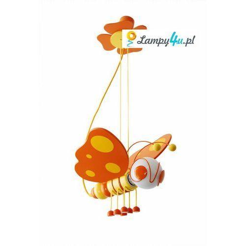 Lampa wisząca motyl pomarańczowa/żółta/drewno, marki Prezent