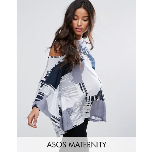 Asos maternity  top with cold shoulder and kimono sleeve in blurred print - multi