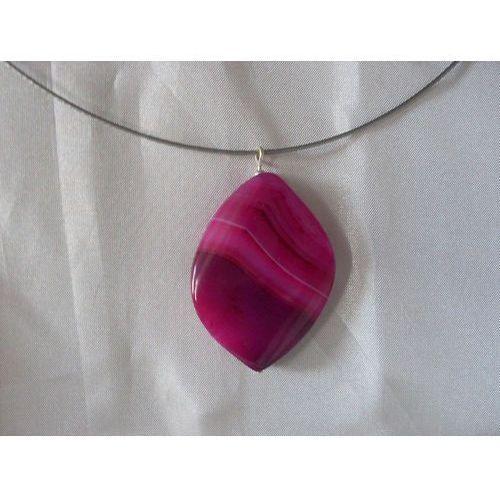 N-00022 Naszyjnik z agatu w kolorze fuksji, 22-03-11