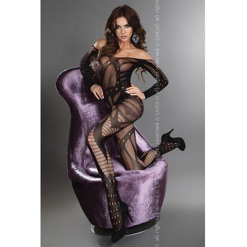 Livia corsetti Hassiba erotyczne bodystocking z z rękawem w geometryczne wzory