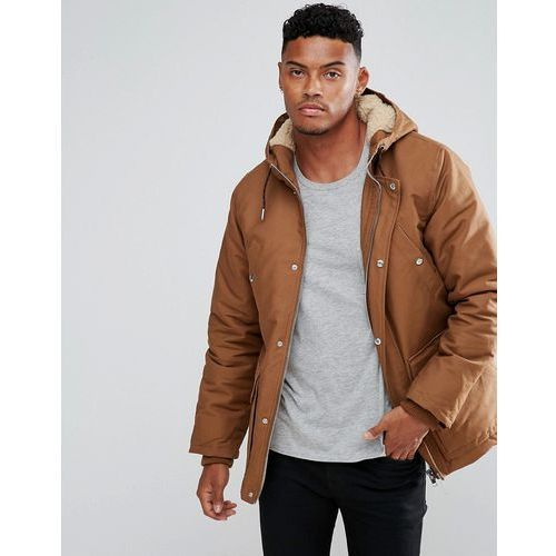 parka jacket with borg lined hood in brown - brown, River island