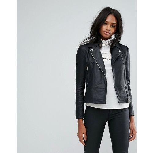 Y.A.S Sophie Soft Leather Biker Jacket - Black, ramoneska
