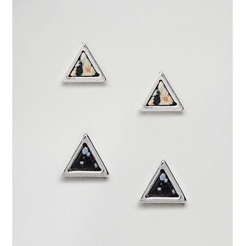 inspired triangle stud earrings in 2 pack with marble effect exclusive to asos - silver marki Reclaimed vintage