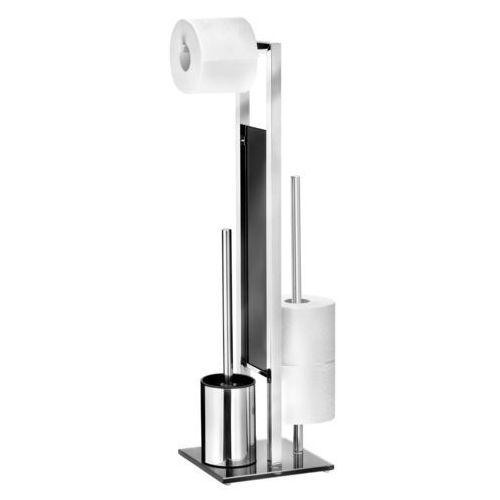 Stylowy zestaw akcesoriów toaletowych, stojak i uchwyt na papier toaletowy, szczotka do toalety, RIVALTA WENKO