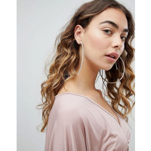 Designb london xl rhinestone statement hoop earrings - silver