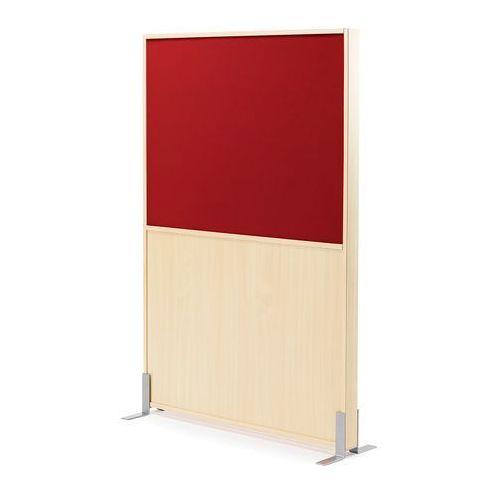 Ścianka działowa Duo, 1000x1500 mm, brzoza, czerwona tkanina, 127814