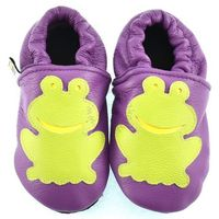 Skórzane kapcie dla dzieci Afelo Frog - Fioletowy, kolor fioletowy