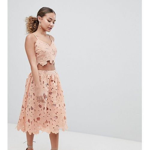 crochet lace midi skirt - pink marki Boohoo