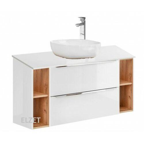COMAD szafka Capri White 2S biały połysk/dąb craft złoty pod umywalkę nablatową + 2 moduły otwarte + blat 120 biały połysk CAPRI WHITE 821 + 2x810 + 892, CAPRIWHITE821B.2x810B.892