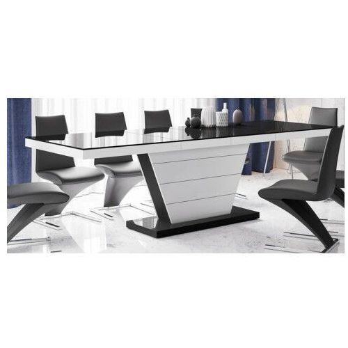 Rozkładany stół z wysokim połyskiem biało - czarny - maizi marki Producent: elior